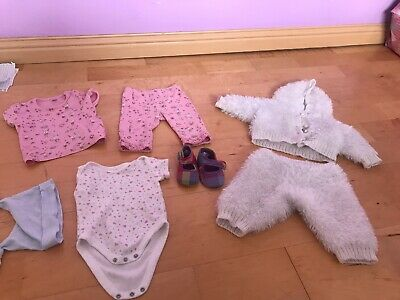 Bargain Bundle Of Girls Clothes Aged 0-3 & 3-6 Months From Next Shoes Vests Hat