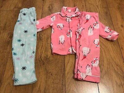 Girls Warm Fleecey Pyjamas Size 4 3-4 Baby Gap Christmas Snowman Nightwear