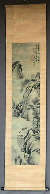 Authentic Chinese Qing Landscape & Cliff Hut Painting on Silk Signature 2 Seals