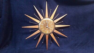 Westclox Beauport Starburst mid century MCM working Battery operated Clock
