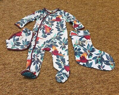 Ted Baker multi floral sleepsuit babygrow bib and stocking age 3-6 months