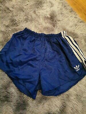 Adidas Vintage Shiny Nylon  Sprinter Shorts blue/white D7 VERY RARE DESIG24