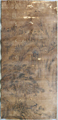 Authentic ANCIENT Chinese Late YUAN Early MING Landscape Painting Silk Anonymous