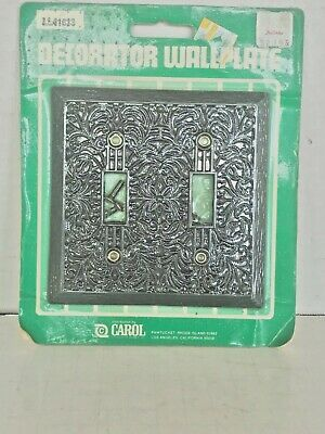Vintage Carol Filigree Double Toggle Switch Cover Plate Black