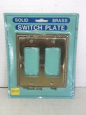 Vintage Double Rocker Switch Plate Cover Braid Polished Brass