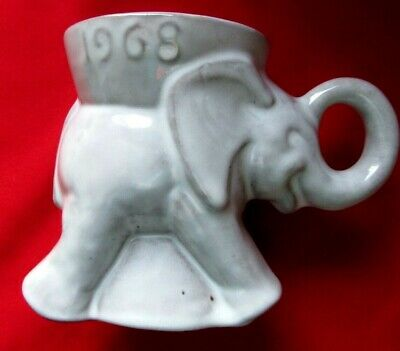Vintage 1968 Frankhoma Elephant GOP Republican Coffee Mug/Cup Gray