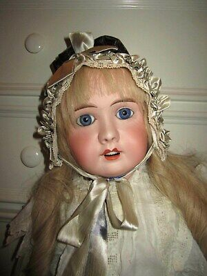 "Antique 32"" Bisque French Louis Leon Prieur Doll Mon Cheri 14 French Human Wig"