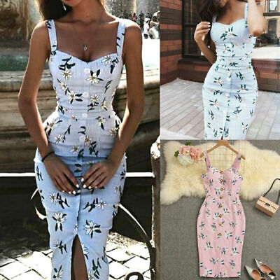 Women Dress Ladies Beach Summer Maxi Dress Boho Fashion Cocktail Bodycon