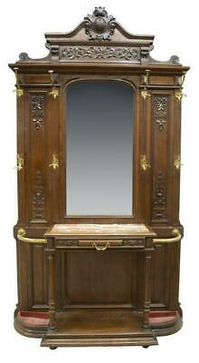 Antique Hall Tree, French Louis Philippe Carved, 19th Century,1800s, Handsome!