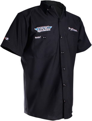 Throttle Threads Mens Drag Short Sleeve Shop Shirt Black 2X-Large