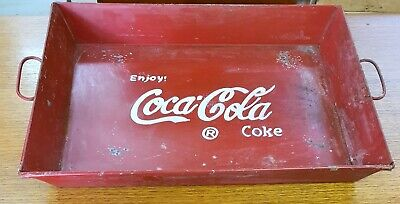 Embossed Coca Cola Rectangular Drinks  Metal Tray With Handles.
