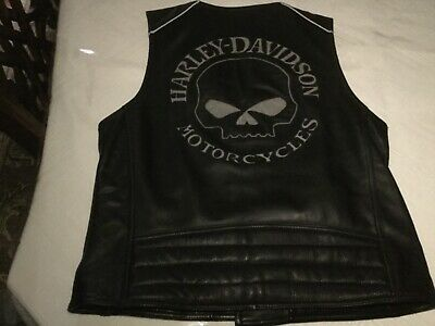 Harley Davidson Willie G Reflective Skull Leather Vest Size Medium