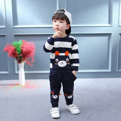 Toddler Infaant Kids Baby Girls Boys Clothes Set Striped Bear Tops+Pants Outfits