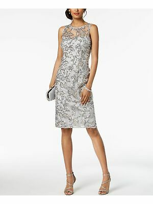 ADRIANNA PAPELL $179 Womens New 1216 Gray Floral Sequined Dress 10 B+B