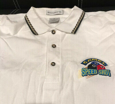VTG CAMEL CIGARETTES POOL BILLIARDS POLO SHIRT XL SPEED SHOUT NEW - See Descrip