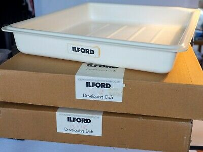 """Ilford developing dishes, set of three, 13""""x 16"""", two unopened, 1 opened"""