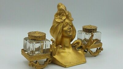 Antique Art Nouveau Gilt Bronze Ink Well with Pen early 1900s France