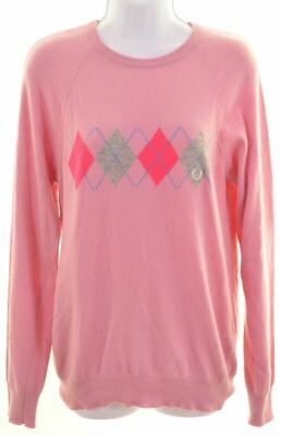 FRED PERRY Girls Crew Neck Jumper Sweater 15-16 Years Pink Wool  BA10