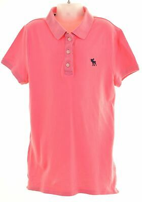ABERCROMBIE & FITCH Girls Polo Shirt 12-13 Years XL Pink Cotton  AW20
