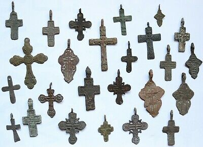 Job Lot Of 25 Authentic Medieval Bronze Crosses