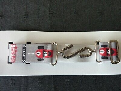 SNAKE BELTS FOR BOYS/CHILDREN/ KIDS - GREY WITH RED CAR MOTIFS approx. 1-10 yr