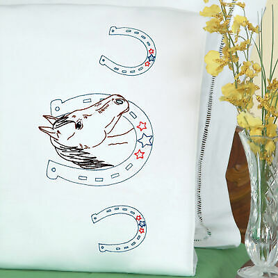 Jack Dempsey Stamped Pillowcases W/White Perle Edge 2/Pkg-Horseshoe