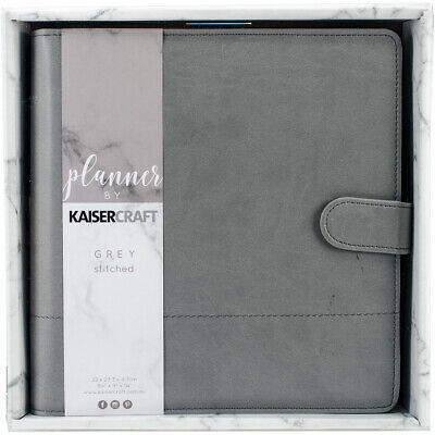 """Kaisercraft Planner 9""""X9""""-Gray W/Stitched Accents"""