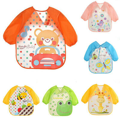 Baby Toddler Kids Waterproof Long Sleeve Bibs Apron Cartoon Feeding #mi XLKX