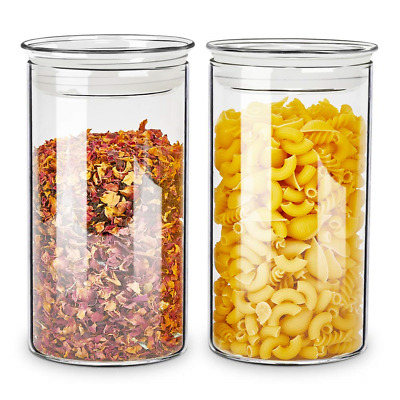 ZENS Glass Canister Jars with Glass Lid,Airtight Sealed Clear Medicine Storage 2