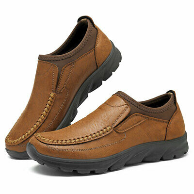 Men's Hand Stitching Leather Moccasins Shoes Breathable Antiskid Slip On Loafers