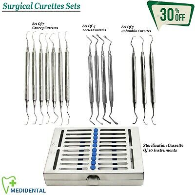 SURGICAL Range Of Complete Dental Columbia, Gracey, Locus Bone Curettes Set New