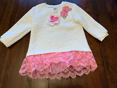 Brand New With Tags Youngland Baby Girls Dress Sweater Flower Pink 24 Months