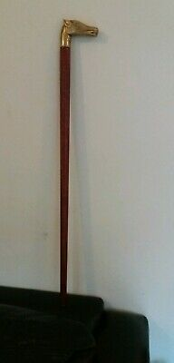 Vintage ? Brass topped horse head wooden walking stick  cane 72.5 cm