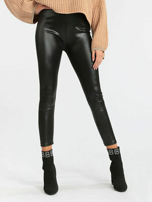 Leggings felpati in ecopelle donna
