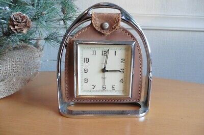 c1930s ART DECO CHROME + LEATHER STIRRUP CLOCK BY BRTISH CLOCKMAKERS SMITHS