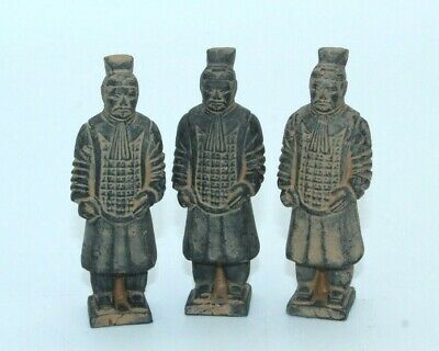 3 Chinese Clay Soldiers Asian Terracotta Army Warriors - Antique? Reproduction?