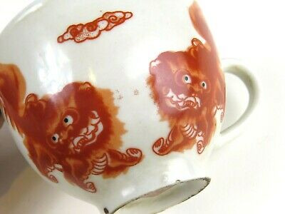 Antique Chinese Tea Cup Set Lot Hand Painted Foo Dog OLD Fabulous Pair SIGNED