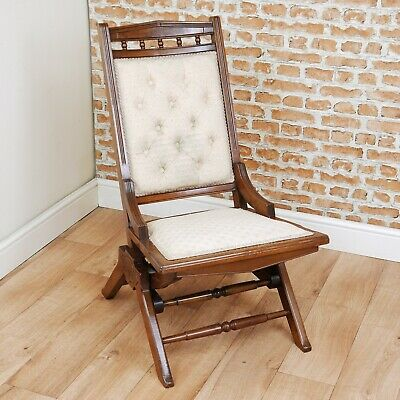 Antique Edwardian Walnut Button Back Upholstered Small Rocking Chair / Nursing