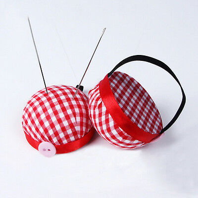 Plaid Grids Needle Sewing Pin Cushion Wrist Strap Tool Button Storage Holder  №r