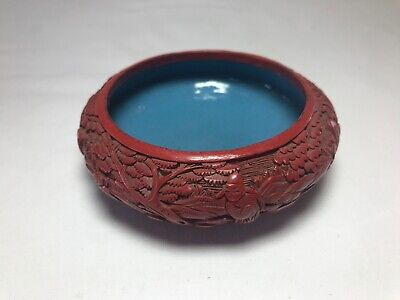 Antique Oriental Chinese Asian Hand Carved Cinnabar Ornate Bowl Dish Trinket
