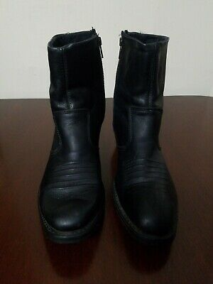 MEN'S BLACK LEATHER WESTERN ANKLE BOOTS 1712 Double-H Boot Co. Zip 10 Vintage.