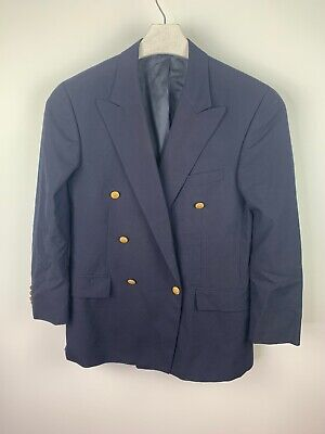 Polo University Club By Ralph Lauren Gold Button Blazer Suit Jacket Navy SZ 41R