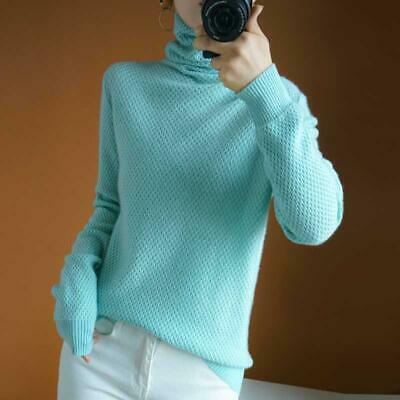 Women Wool Cashmere High Neck Sweater Pullover Knitwear Thick Warm Winter Jumper