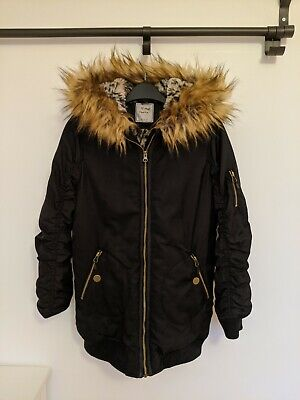 Next - Girls Black Coat (Age 12 years) with Faux Fur Hood and Lining