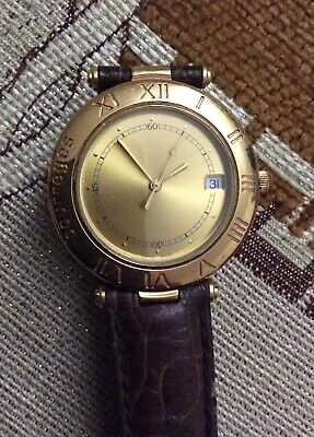 Montre Courreges homme Vintage plaqué or 02-1001 Swiss made
