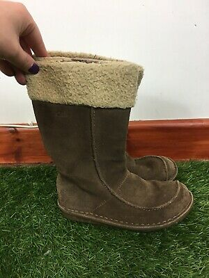 Girls Clarks Size 12.5F Brown Suede Leather Winter Boots Mid Calf