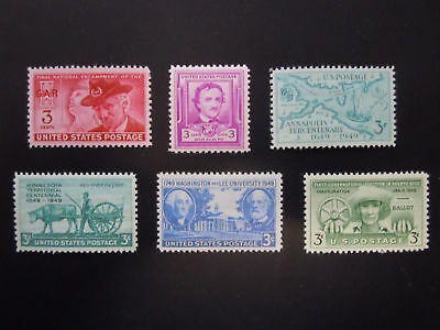 1949 US Commemorative Year Set Complete #981-986  MNH OG