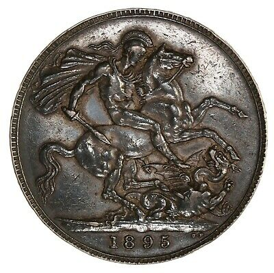 Raw 1895 Great Britain 1 Crown LIX Rim Uncertified Ungraded Silver Coin