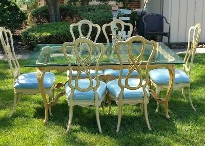 Mid Century French Glass Top Dining Room Table 66 X 41.5 Six Blue Covered Chairs