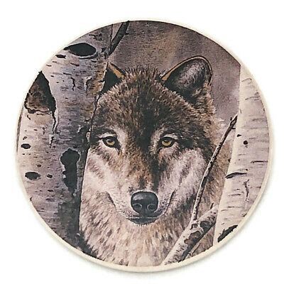 Gray Wolf Wolves Lodge Wilderness Absorbent Stone Car Auto Coaster Single (1)